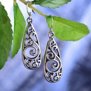Jewelry - Antiqued Silver Teardrop Swirl Earrings